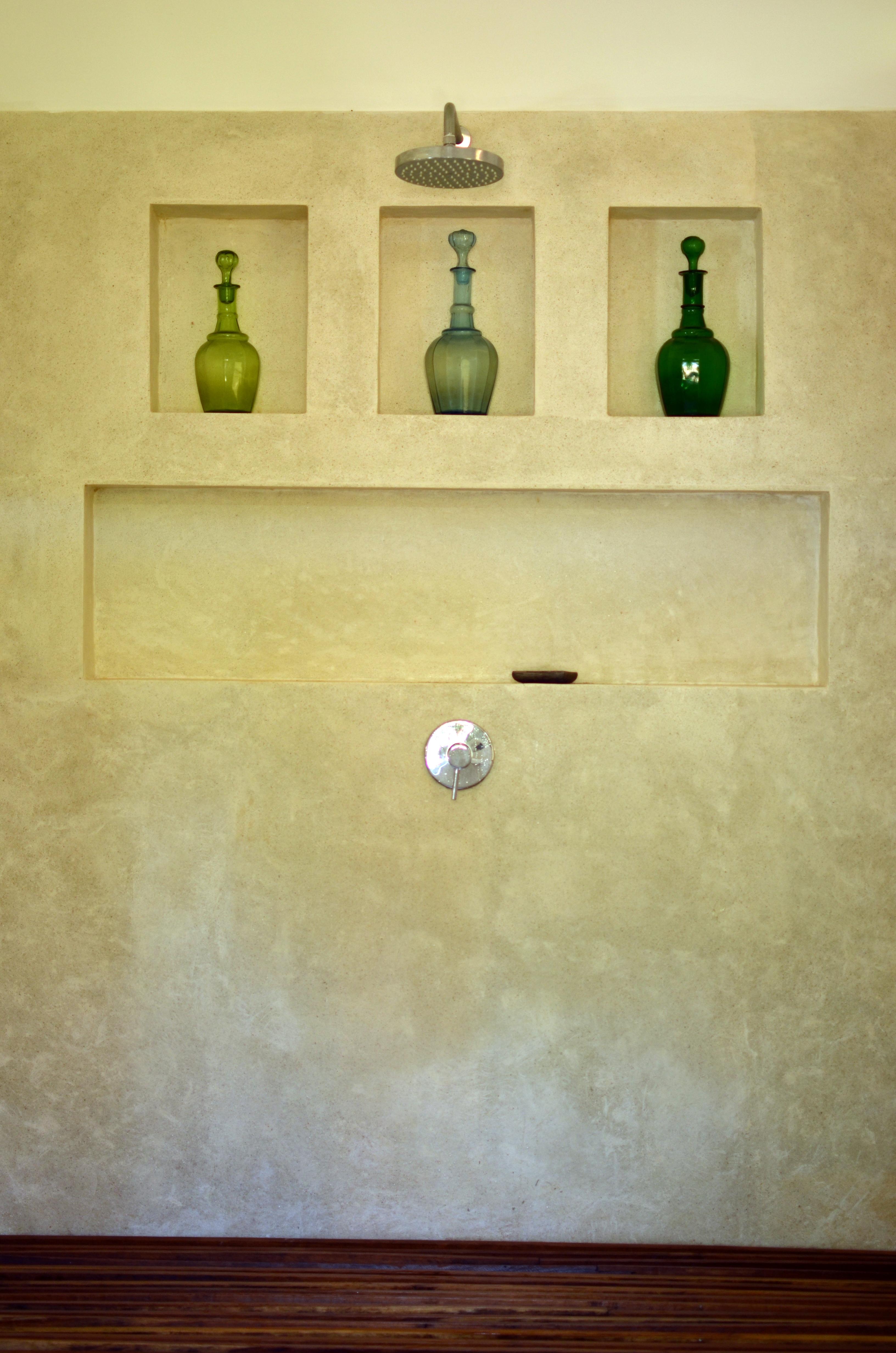 Shower in large bathroom.