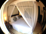 Super comfy four poster King bed with mosquito net.