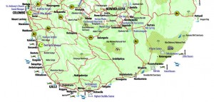A map of the southern part of Sri Lanka