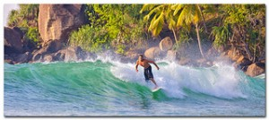 Christophe Faugere surfing at Mirissa.