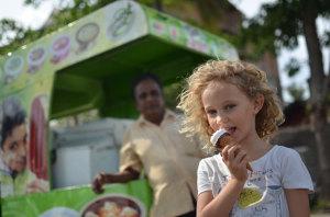 Grace enjoying some Elephant House icecream.